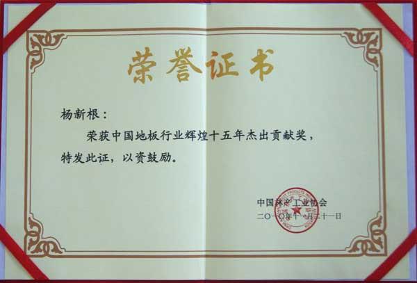 中国地板行业辉煌十五年杰出贡献奖