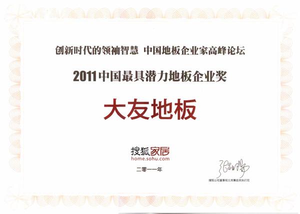 2011中国最具潜力地板企业奖