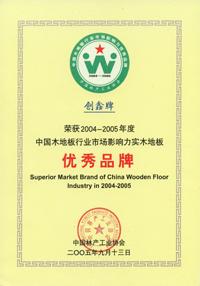 中国木地板行业优秀品牌
