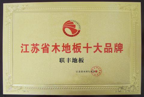 江苏省木地板十大品牌证书