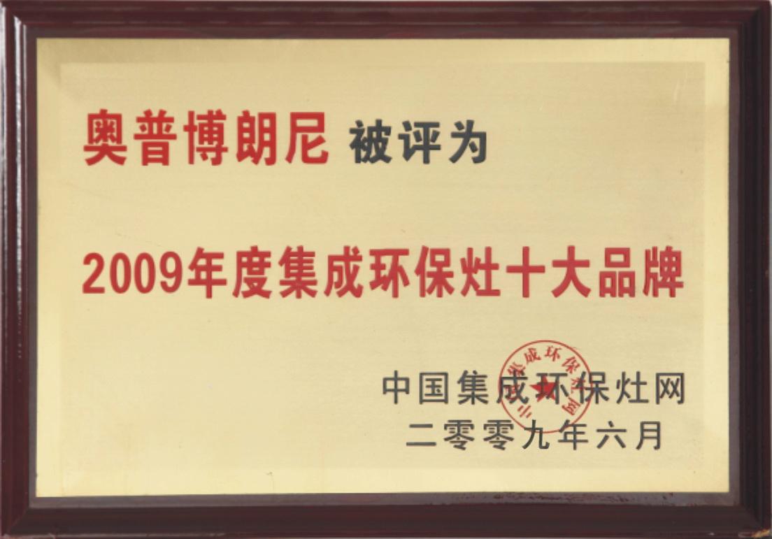 2009年十大品牌证书