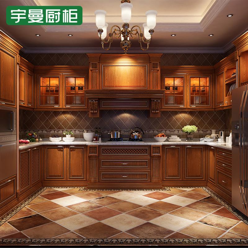 宇曼厨柜 实木复合系列古典风格橱柜图片