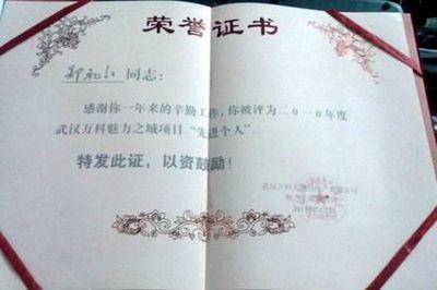 2011武汉万科魅力之城项目荣誉证书