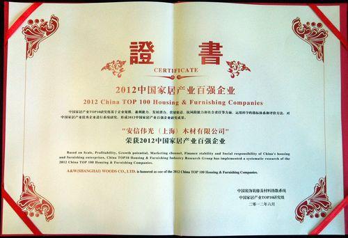 2012中国家居产业百强企业