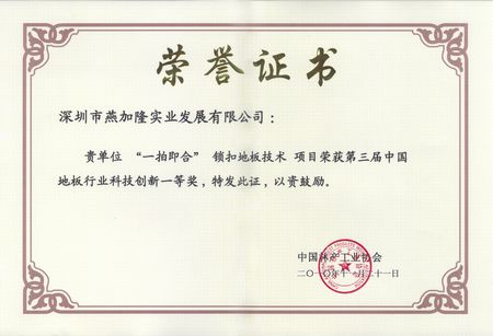三届中国地板行业科技创新一等奖