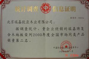 统计认证(2003年全国市场同类产品销量第二名)