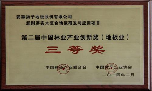 第二届中国林业产业创新奖(地板业)三等奖