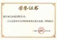 省级林业重点龙头企业证书