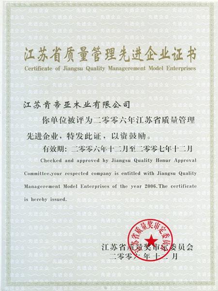 江苏省质量管理先进企业证书