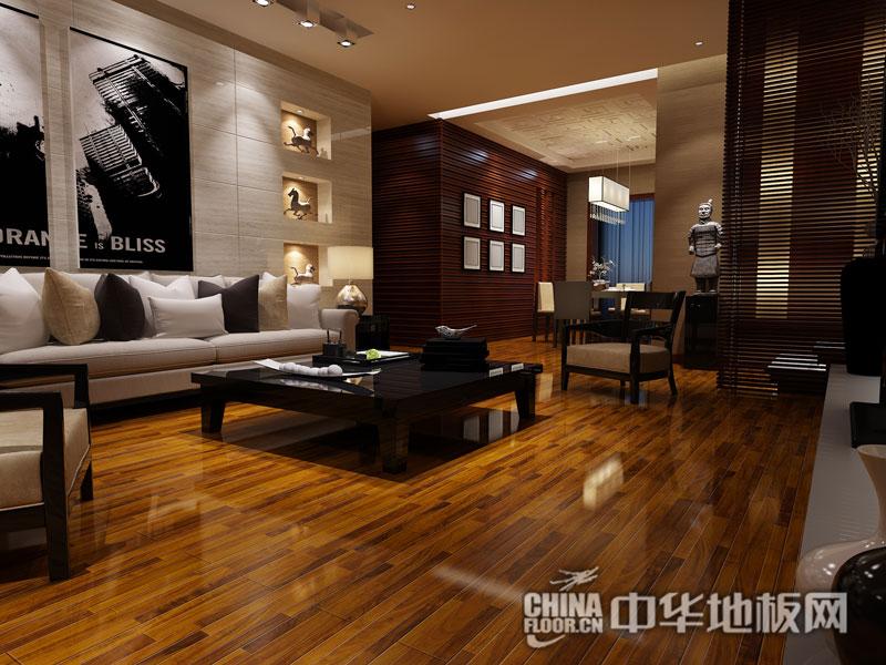 扬子地板装修效果图-YZ931三拼红橡(后现代风格)
