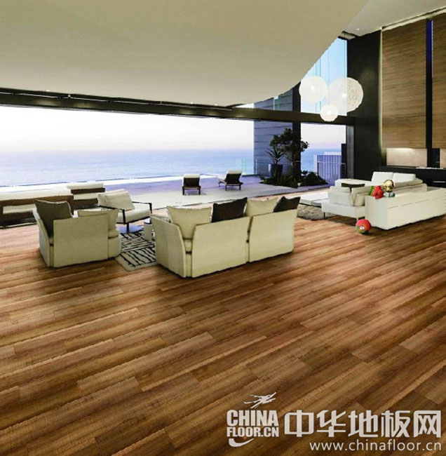 客厅地板装修效果图 小块拼接咖啡色地板