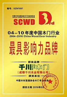 中国木门行业最具影响力品牌