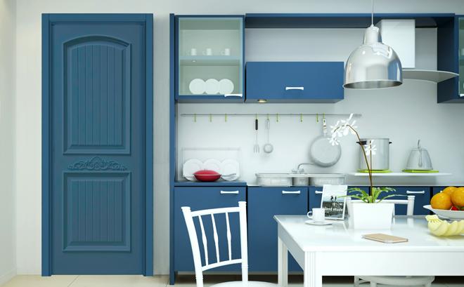 现代风格卧室门装修效果图 绿平方木门G2110