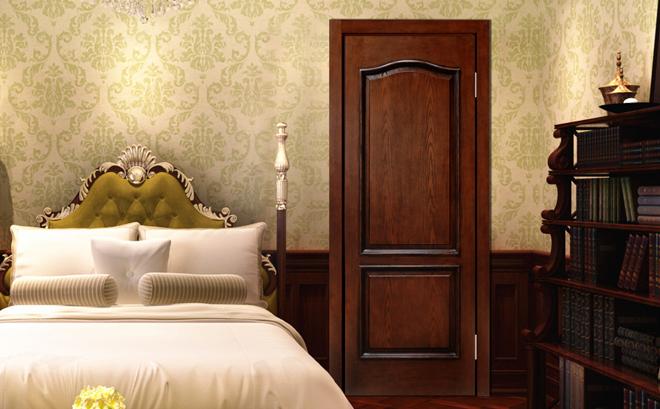 田园风格卧室门装修效果图 绿平方木门G2208
