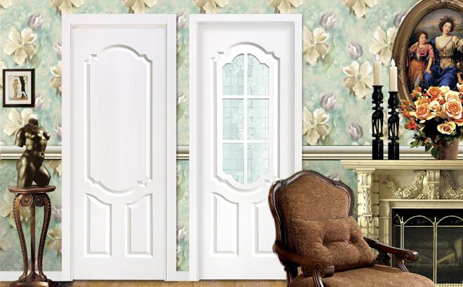 田园风格卧室门装修效果图 绿平方木门G2210