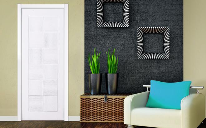 现代风格烤漆门装修效果图 绿平方木门G2212