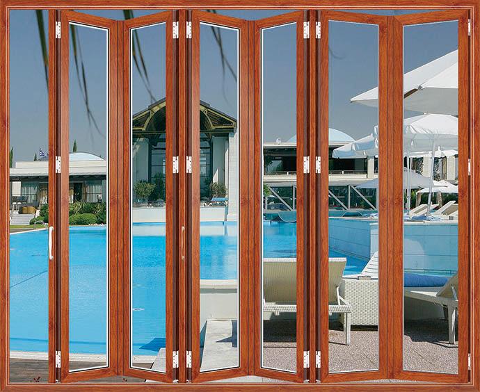 裕安门窗效果图 金橡木折叠门家装效果图