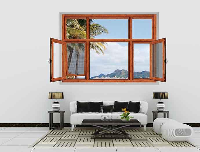 窗纱一体平开窗装修效果图 裕安门窗图片