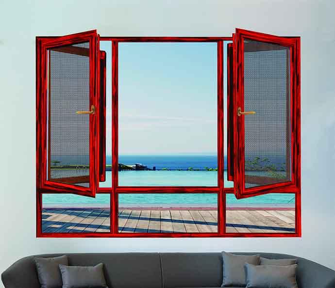 小叶紫檀平开窗装修效果图 裕安门窗图片